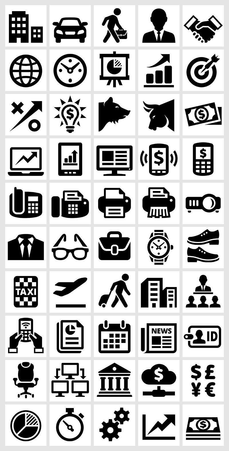 Business and Finance black & white vector icon set