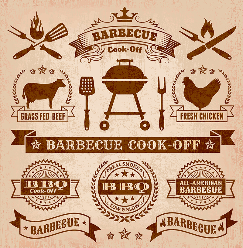Summer Barbecue Badges Vector Illustration