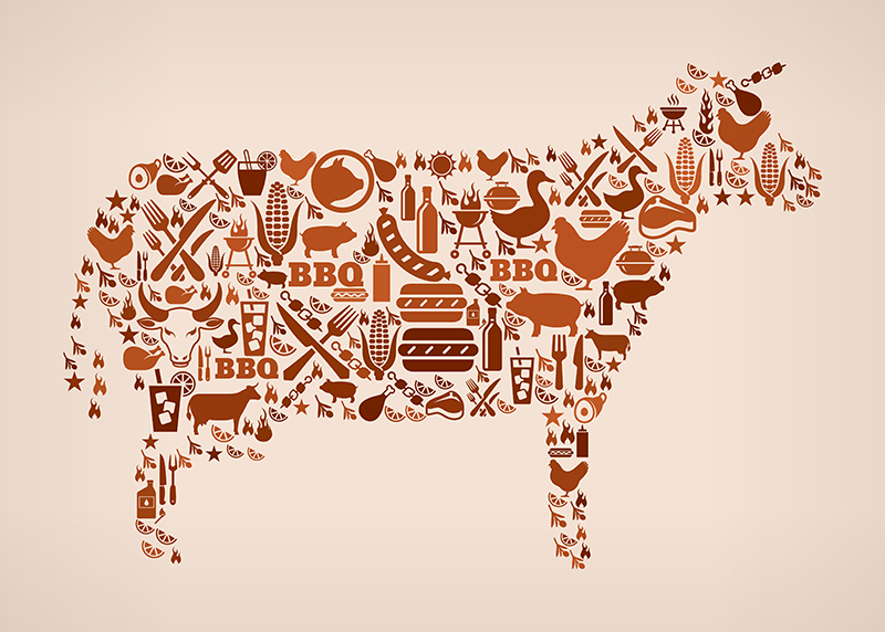 Cow summer barbecue invitation vector background