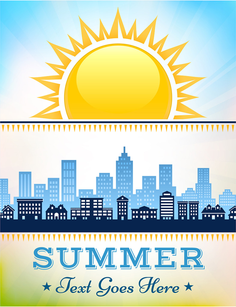 Panoramic City Skyline summer day poster with blue sky background