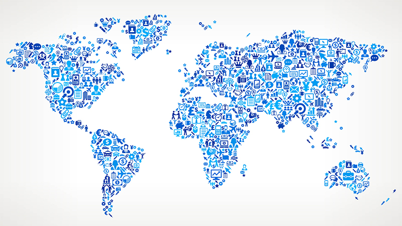 World Map on Business Icon Pattern