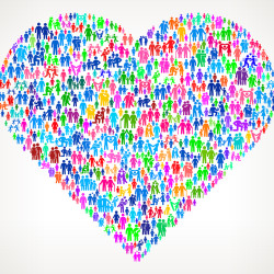 Heart on vector family pattern Background