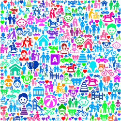 Family and People on Colorful Seamless Background