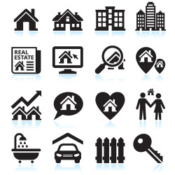 This vector icon set depicts imagery like open houses, WiFi Internet for commercial office spaces, homes with price reductions, and other images that will help you reach your audience.
