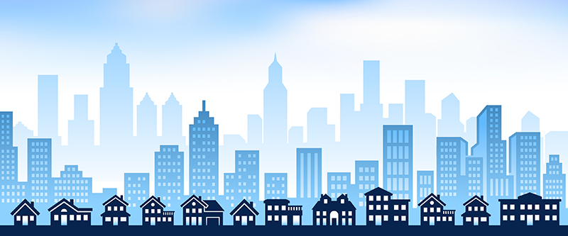 Skyline image with rural house and skyscraper city background