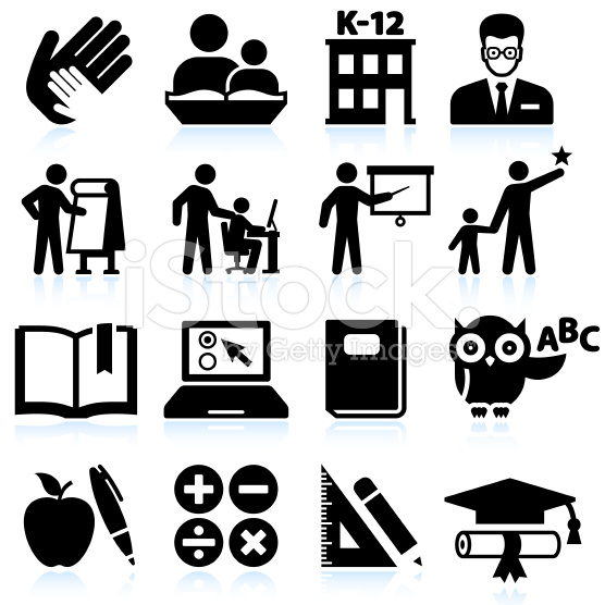 Tutoring and education black & white vector icon set
