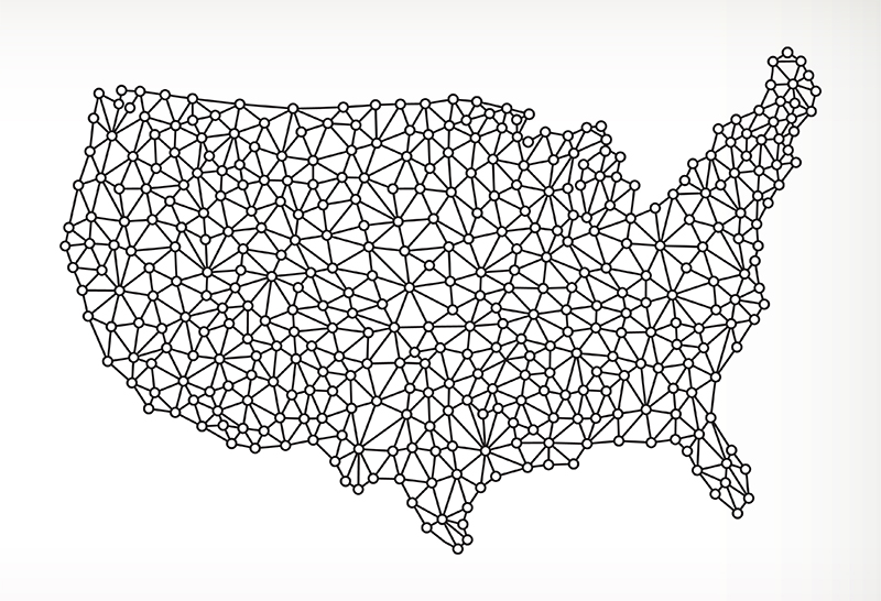 USA Map on Triangular Framework