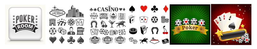Las Vegas Casino and Gambling black and white royalty free vector interface icon set.