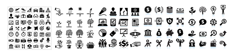 business and finance vector icon sets