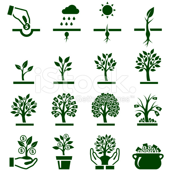 Money Growing on Trees Vector Icon Set