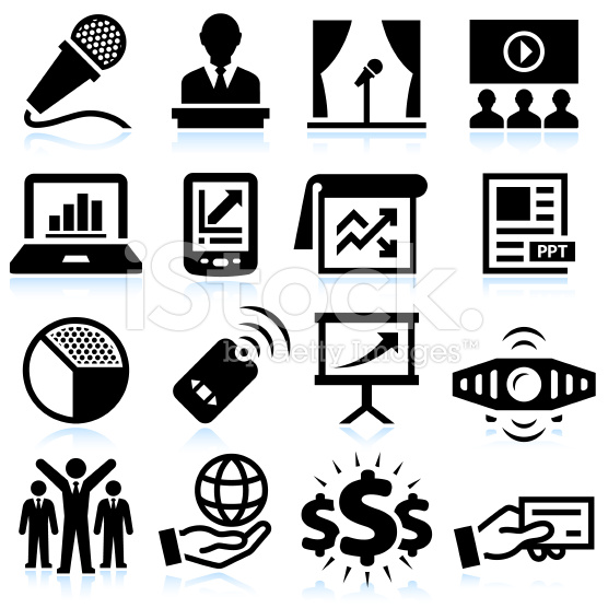 Business Presentation Black and White Royalty-free Vector Icon Set