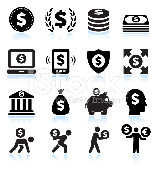 Dollar Sign Finance and Money Black and White Vector Icon Set