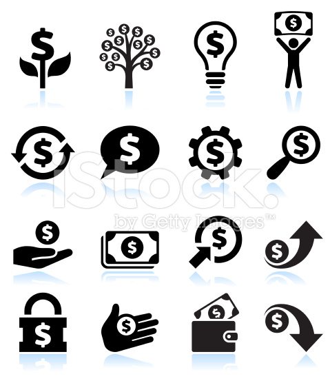 Dollar Finance and Money Black and White Vector Icon Set